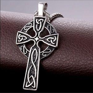 New Stainless Steel Cross Irish Knot Men Necklace